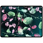 Modern Green And Pink Leaves Double Sided Fleece Blanket (Large)  80 x60 Blanket Back