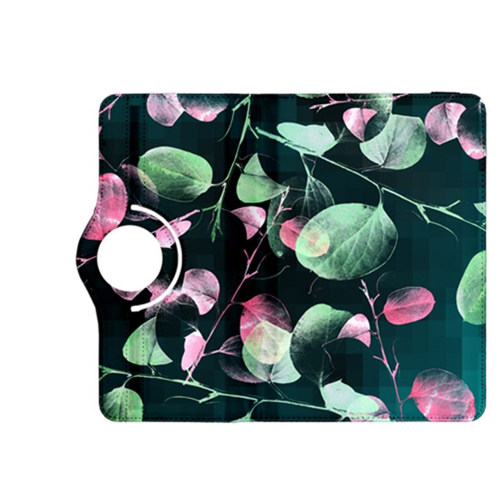Modern Green And Pink Leaves Kindle Fire HDX 8.9  Flip 360 Case