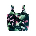 Modern Green And Pink Leaves Full Print Recycle Bags (S)  Back