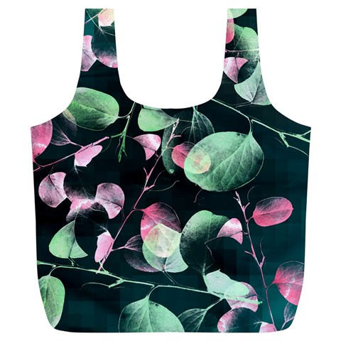 Modern Green And Pink Leaves Full Print Recycle Bags (L)