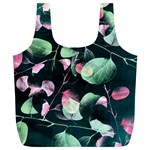 Modern Green And Pink Leaves Full Print Recycle Bags (L)  Back