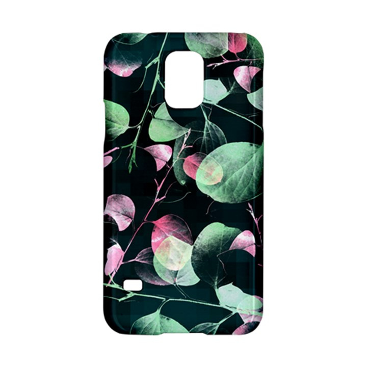 Modern Green And Pink Leaves Samsung Galaxy S5 Hardshell Case