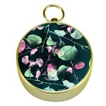 Modern Green And Pink Leaves Gold Compasses Front