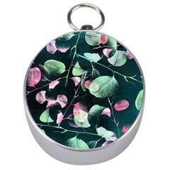Modern Green And Pink Leaves Silver Compasses