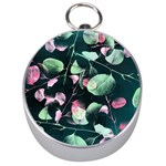 Modern Green And Pink Leaves Silver Compasses Front