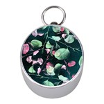 Modern Green And Pink Leaves Mini Silver Compasses Front