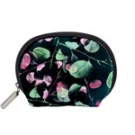 Modern Green And Pink Leaves Accessory Pouches (Small)  Front