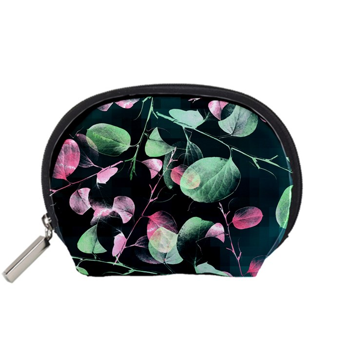 Modern Green And Pink Leaves Accessory Pouches (Small)