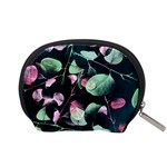Modern Green And Pink Leaves Accessory Pouches (Small)  Back