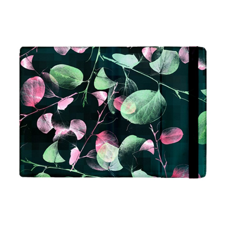 Modern Green And Pink Leaves iPad Mini 2 Flip Cases