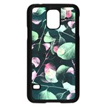 Modern Green And Pink Leaves Samsung Galaxy S5 Case (Black) Front