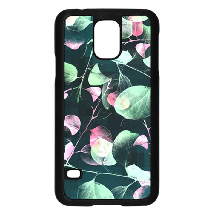 Modern Green And Pink Leaves Samsung Galaxy S5 Case (Black)