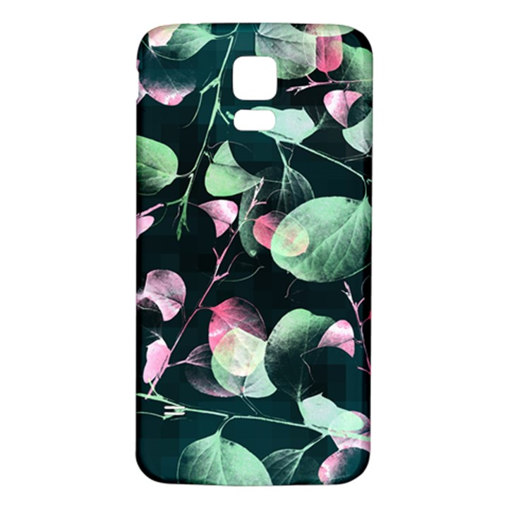 Modern Green And Pink Leaves Samsung Galaxy S5 Back Case (White)