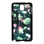Modern Green And Pink Leaves Samsung Galaxy Note 3 Neo Hardshell Case (Black) Front