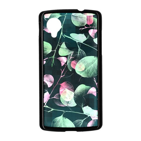 Modern Green And Pink Leaves Nexus 5 Case (Black)