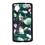 Modern Green And Pink Leaves Nexus 5 Case (Black) Front