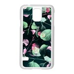 Modern Green And Pink Leaves Samsung Galaxy S5 Case (White) Front