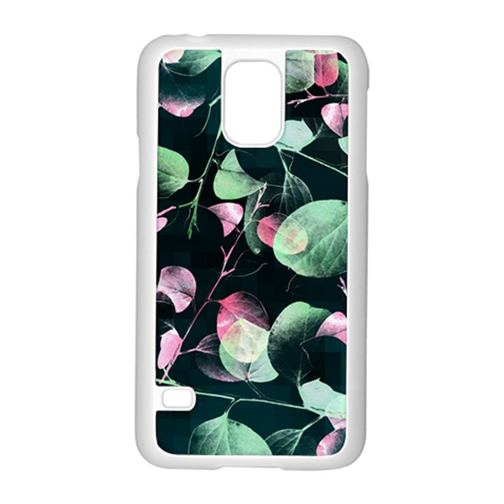 Modern Green And Pink Leaves Samsung Galaxy S5 Case (White)