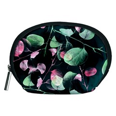 Modern Green And Pink Leaves Accessory Pouches (medium)