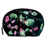 Modern Green And Pink Leaves Accessory Pouches (Large)  Front