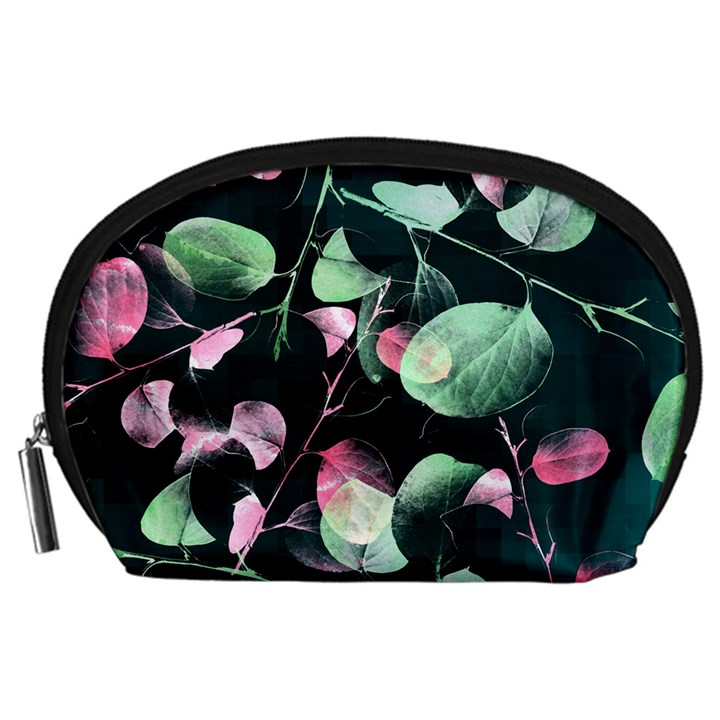Modern Green And Pink Leaves Accessory Pouches (Large)