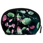 Modern Green And Pink Leaves Accessory Pouches (Large)  Back