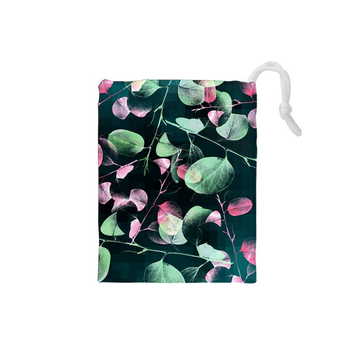 Modern Green And Pink Leaves Drawstring Pouches (Small)