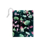 Modern Green And Pink Leaves Drawstring Pouches (Small)  Back