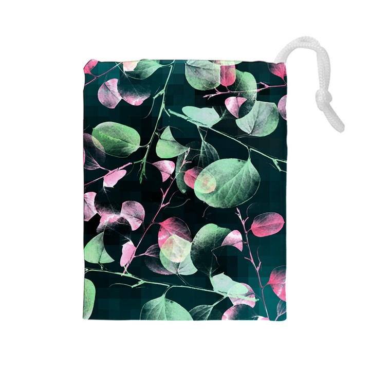 Modern Green And Pink Leaves Drawstring Pouches (Large)
