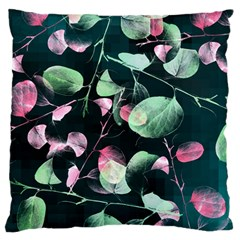 Modern Green And Pink Leaves Large Flano Cushion Case (One Side)