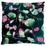 Modern Green And Pink Leaves Large Flano Cushion Case (One Side) Front