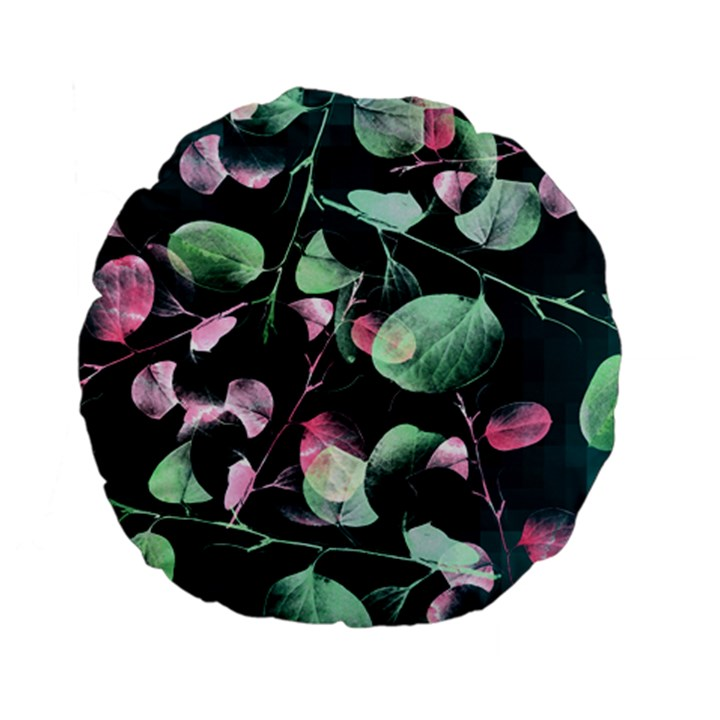 Modern Green And Pink Leaves Standard 15  Premium Flano Round Cushions