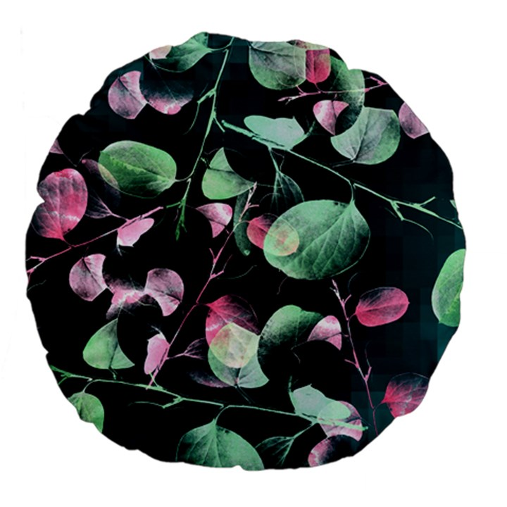 Modern Green And Pink Leaves Large 18  Premium Flano Round Cushions