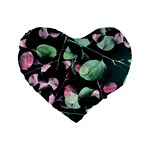 Modern Green And Pink Leaves Standard 16  Premium Flano Heart Shape Cushions Front
