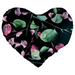 Modern Green And Pink Leaves Large 19  Premium Flano Heart Shape Cushions Front