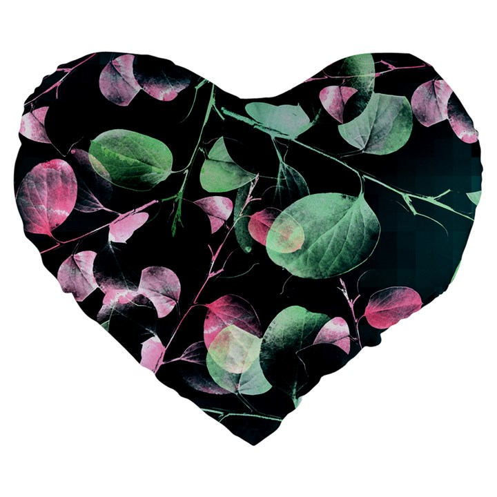 Modern Green And Pink Leaves Large 19  Premium Flano Heart Shape Cushions