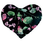Modern Green And Pink Leaves Large 19  Premium Flano Heart Shape Cushions Back
