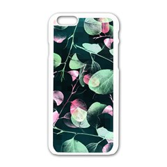Modern Green And Pink Leaves Apple Iphone 6/6s White Enamel Case