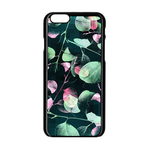 Modern Green And Pink Leaves Apple iPhone 6/6S Black Enamel Case