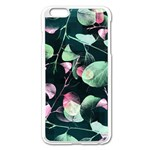 Modern Green And Pink Leaves Apple iPhone 6 Plus/6S Plus Enamel White Case Front