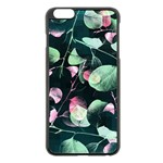 Modern Green And Pink Leaves Apple iPhone 6 Plus/6S Plus Black Enamel Case Front
