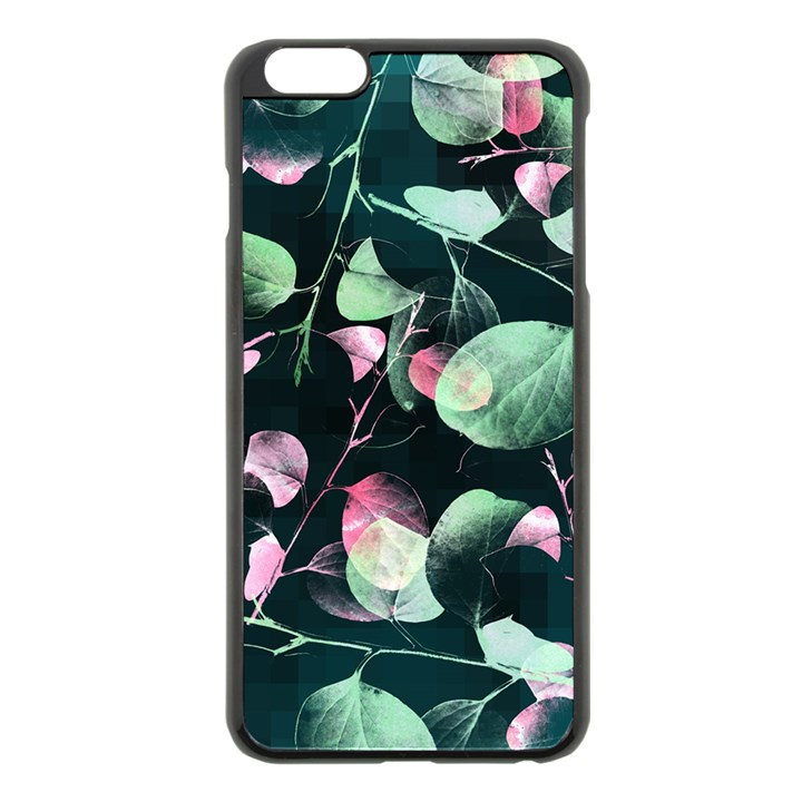 Modern Green And Pink Leaves Apple iPhone 6 Plus/6S Plus Black Enamel Case
