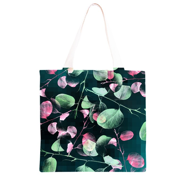 Modern Green And Pink Leaves Grocery Light Tote Bag