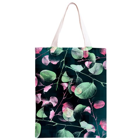 Modern Green And Pink Leaves Classic Light Tote Bag