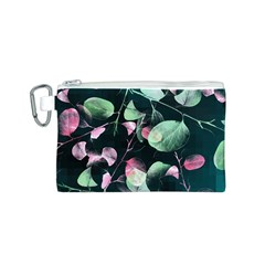 Modern Green And Pink Leaves Canvas Cosmetic Bag (S)