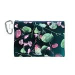 Modern Green And Pink Leaves Canvas Cosmetic Bag (M) Front