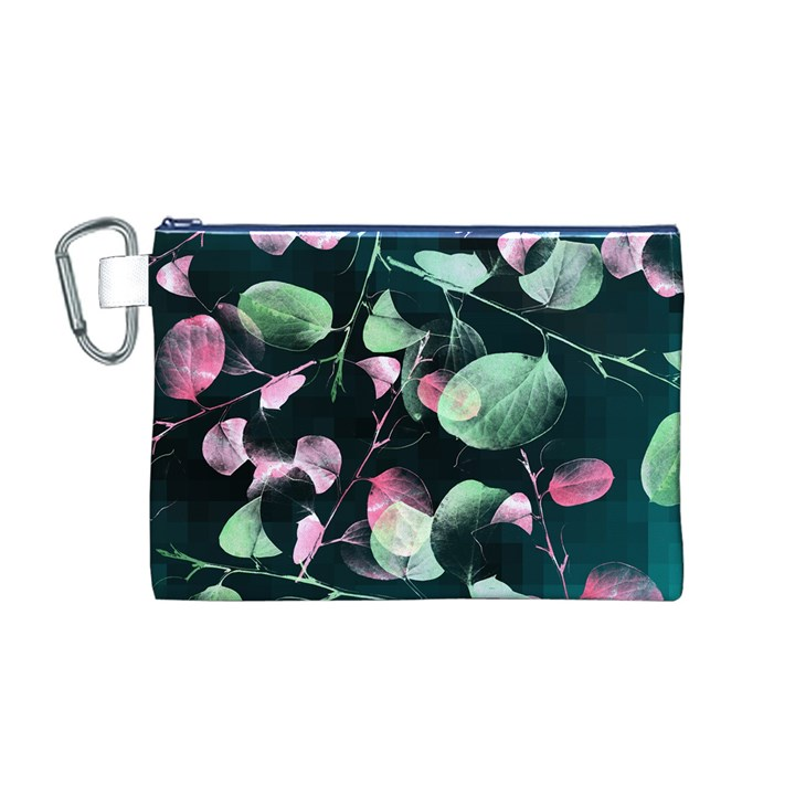 Modern Green And Pink Leaves Canvas Cosmetic Bag (M)