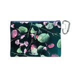 Modern Green And Pink Leaves Canvas Cosmetic Bag (M) Back
