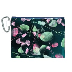 Modern Green And Pink Leaves Canvas Cosmetic Bag (XL)