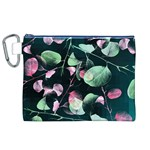 Modern Green And Pink Leaves Canvas Cosmetic Bag (XL) Front